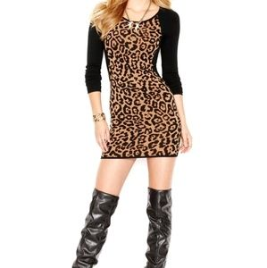 GUESS XL Animal Print Sweater Dress
